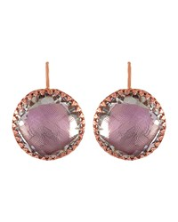 Olivia Gold Washed Topaz Button Earrings Ballet Larkspur And Hawk Pink
