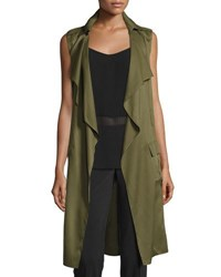 Laundry By Shelli Segal Drape Front Cargo Trench Vest Olive