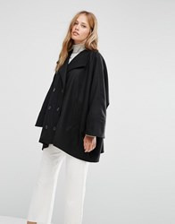 Cooper And Stollbrand Oversize Double Breasted Short Coat In Black Black