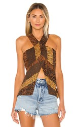 House Of Harlow 1960 X Revolve Ziggy Top In Brown. Brown Animal Stripe