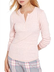 Joules Dormi Long Sleeve Ribbed Henley Top Pink