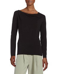 Lord And Taylor Iconic Fit Drape Front Blouse Black