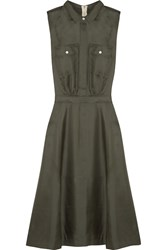Band Of Outsiders Silk Satin Twill Dress Green
