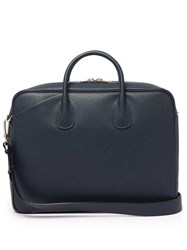 Valextra My Logo Pebbled Leather Briefcase Navy
