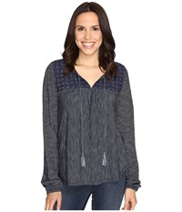 Sanctuary Poetta Knit Top Marine Milk Stripe Women's Long Sleeve Pullover Black