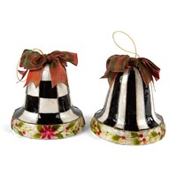 Mackenzie Childs Poinsettia Bell Tree Decorations Set Of 2