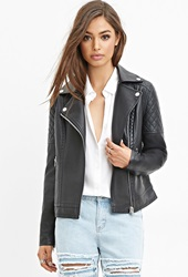 Forever 21 Quilted Faux Leather Jacket Black