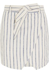 Madewell Portside Striped Linen And Cotton Blend Mini Skirt Ecru