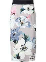 Milly Floral Print Pencil Skirt Nude And Neutrals