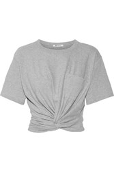 Alexander Wang T By Cropped Twist Front Stretch Cotton Jersey T Shirt Light Gray