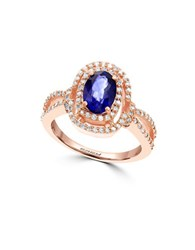 Effy Diamond Sapphire And 14K Rose Gold Ring Blue