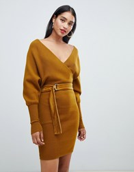 Morgan Wrap Front Knitted Tie Waist Pencil Dress In Mustard Yellow