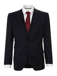 New And Lingwood Garth Widestripe Suit Jacket With Ticket Pocket Navy