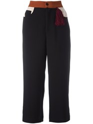 Au Jour Le Jour Cropped Wide Leg Trousers Black
