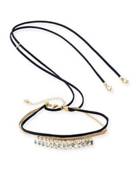 Lydell Nyc Crystal Choker W Adjustable Suede Ties