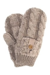 Muk Luks Braided Cable Mittens Beige