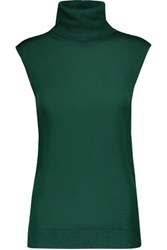 Magaschoni Silk And Cashmere Blend Turtleneck Top Emerald