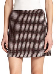 Theory Kerash Printed Mini Skirt Navy Red
