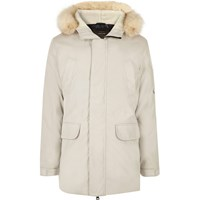 River Island Mens White Faux Fur Trim Hooded Parka