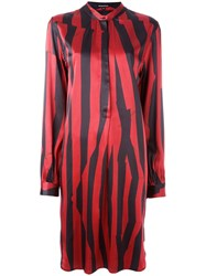 Ann Demeulemeester Blanche Striped Button Front Dress Red