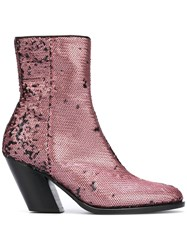 A.F.Vandevorst Sequined Ankle Boots Pink Purple