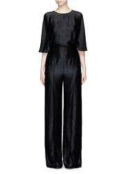 Valentino Open Cross Back Satin Crepon Jumpsuit Black