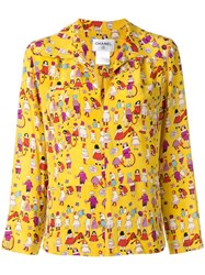 Chanel Vintage Printed Zip Up Shirt Yellow