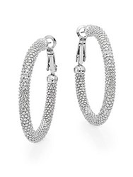 Ak Anne Klein Anne Klein Textured Hoop Earrings 1.5 Silver