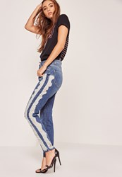 Missguided High Waisted Shredded Side Skinny Jeans Blue