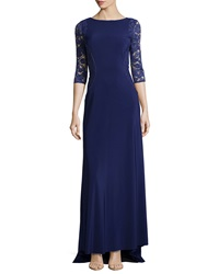 Vera Wang Lace Inset 3 4 Sleeve Gown Regency