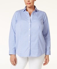 Charter Club Plus Size Striped Shirt Only At Macy's Worldly Blue
