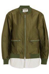3.1 Phillip Lim Satin And Striped Poplin Bomber Jacket Army Green