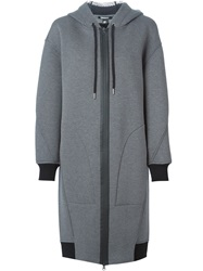 Dkny Long Hooded Coat Grey