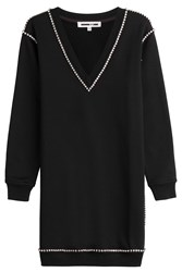 Mcq By Alexander Mcqueen Embellished Cotton Sweater Dress Black