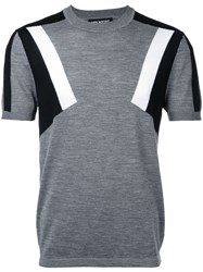 Neil Barrett Geometric Intarsia Knit Top Grey