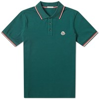 Moncler Classic Contrast Tipped Polo Green