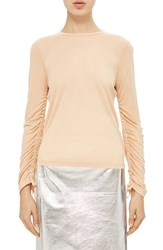 Topshop Women's Boutique Ruched Sleeve Tee Blush