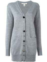 Marc Jacobs Embellished Button Oversized Cardigan Grey