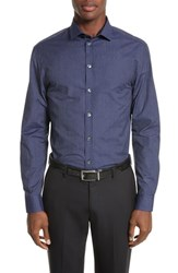 Armani Collezioni Regular Fit Pinstripe Sport Shirt Striped Blue
