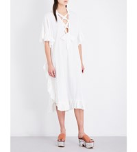 See By Chloe Kaftan Style Cotton And Linen Blend Dress White