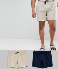 Asos Design Plus Swim Shorts 2 Pack In Navy And Stone Mid Length Save Multi