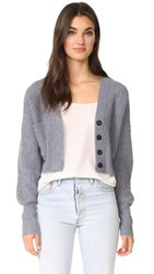 Le Kasha Cropped Cashmere Cardigan Blue Grey