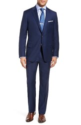 Hickey Freeman Men's Big And Tall Beacon Classic Fit Plaid Wool Suit Blue