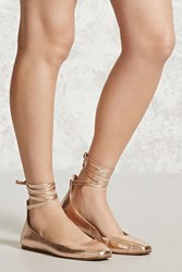 Forever 21 Metallic Lace Up Ballet Flats Rose Gold
