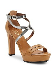 Tod's Strappy Leather Platform Sandals Tan
