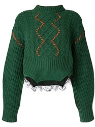 Self Portrait Cable Knit Jumper Green