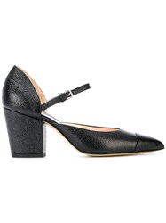 Thom Browne Mid Block D'orsay Heel In Pebble Grain Leather Black
