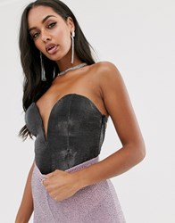 Rare London Plunge Front Body With Lace Up Back Detail In Metallic Gunmetal Grey