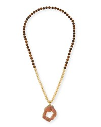 Wooden Bead Necklace With Druzy Pendant Peach Panacea