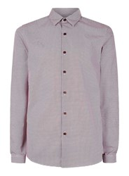 Topman Red Burgundy And White Punchole Long Sleeve Smart Shirt